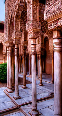 Columns Of The Court Of The Lions - Painting Art Print