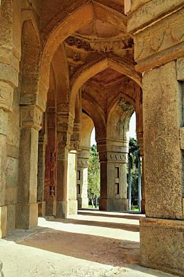 Columns On Tomb Of Mohammed Shah / Art Print by Adam Jones