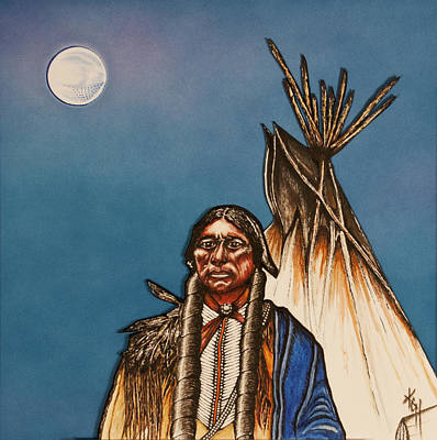 Quanah Parker Mixed Media - Comanche Moon by Kem Himelright