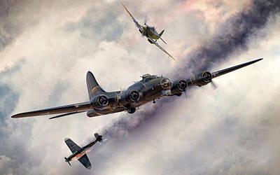 British Digital Art - Combat Skies by Peter Chilelli