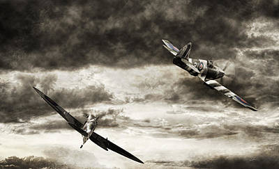 Dramatic Digital Art - Combat Spitfires by Peter Chilelli