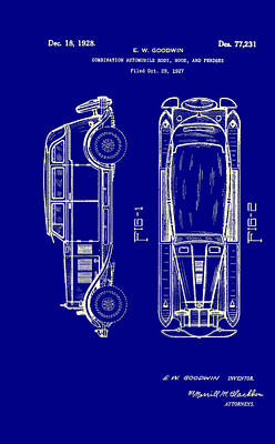Combination Automobile Body Hood And Fenders Patent 1928 Art Print by Mountain Dreams