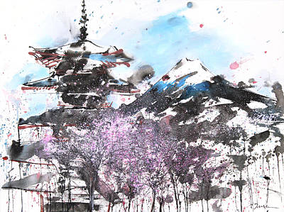 Combination No.32 Spring Time Mt.fuji And Pagoda Art Print