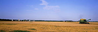 Illinois Farm Land Photograph - Combine In A Field, Marion County by Panoramic Images