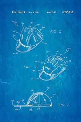Combined Baseball Glove Cap Patent Art 1988 Blueprint Art Print