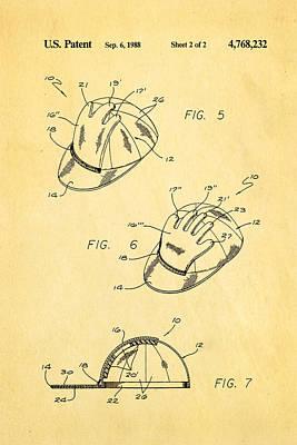 Combined Baseball Glove Cap Patent Art 1988 Art Print