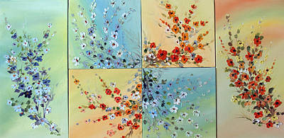 Art Print featuring the painting Combo Flowers by Dorothy Maier