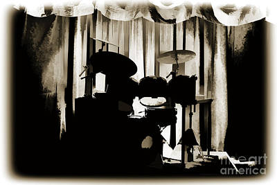 Combo Trap Drum Set Painting In Sepia 3230.01 Art Print by M K  Miller