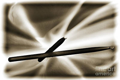 Combo Trap Drum Sticks Painting In Sepia 3231.01 Art Print by M K  Miller