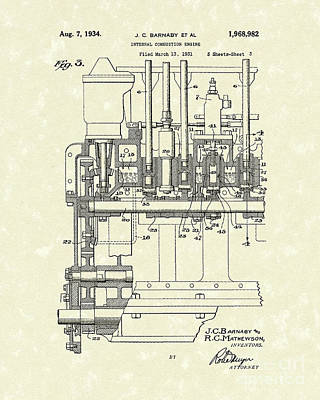 Fossil Drawing - Combustion Engine 1934 Patent Art by Prior Art Design