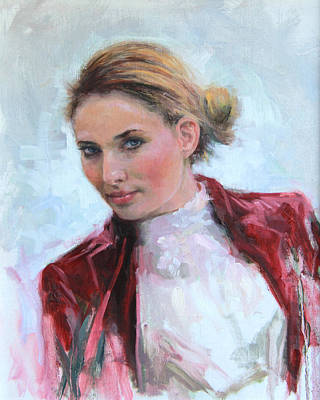 Clothed Painting - Come A Little Closer Young Woman Portrait by Talya Johnson