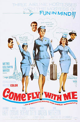 1963 Movies Photograph - Come Fly With Me, Us Poster, From Left by Everett