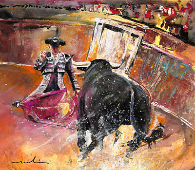 Torero Wall Art - Painting - Come If You Dare 02 by Miki De Goodaboom