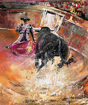 Bullfighter Portrait Painting - Come If You Dare by Miki De Goodaboom