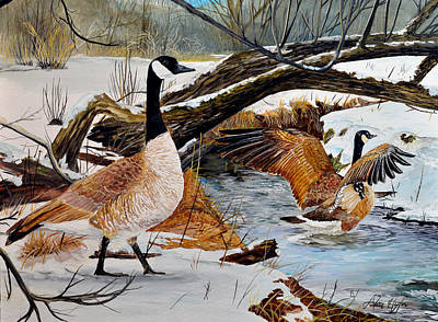 Canadian Geese Painting - Come On In Its Not To Cold by Alvin Hepler