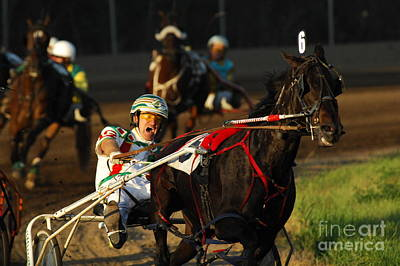 Harness Racing Photograph - Horse Racing Come On Number 6 by Bob Christopher