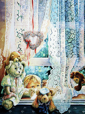 Teddy Bear Watercolor Painting - Come Out And Play Teddy by Hanne Lore Koehler