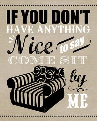 Come Sit By Me Art Print by Longfellow Designs