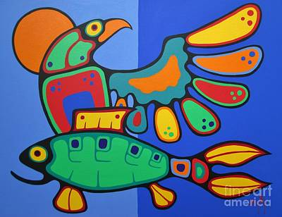 Colorful Eagle Painting - Come Together As The Future Looks Bright by Jim Oskineegish