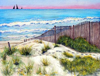 Sand Fences Painting - Come With Me---down To The ....  by Ruth Bodycott