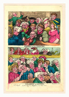 Weeping Drawing - Comedy In The Country. Tragedy In London by English School