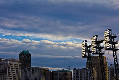 Comerica Lights And Detroit Skyline Art Print