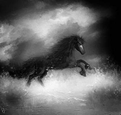 Digital Art - Comes A Dark Horse by Hazel Billingsley
