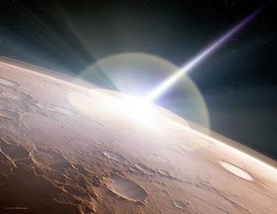 Comet Colliding With Mars Art Print