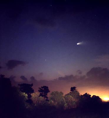 Comet Hale-bopp. Lake Cypress. Art Print by Chris  Kusik