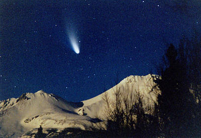 Comet Hale Bopp Rising Over Mount Shasta 01 Art Print by Patricia Sanders