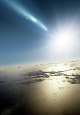 Comet Over Earth Art Print by Detlev Van Ravenswaay