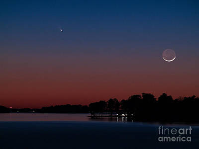 Photograph - Comet Panstarrs And Crescent Moon by Charles Hite