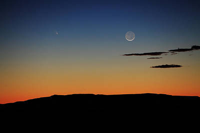 Photograph - Comet Panstarrs And The Setting Crescent Moon by Alan Vance Ley