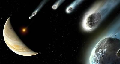 Striking Photograph - Comet Shoemaker-levy-9 Striking Jupiter by Mark Garlick