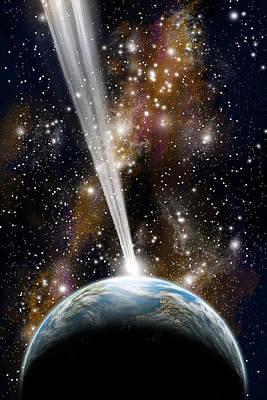 Luminous Globe Photograph - Comet Strike by Marc Ward