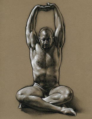 Male Nudes Drawing - Comfort 2 by Chris Lopez