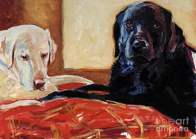 Yellow Labrador Retriever Painting - Comfort And Joy by Molly Poole