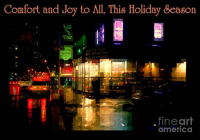 Photograph - Comfort And Joy To All This Holiday Season - Corner In The Rain - Holiday And Christmas Card by Miriam Danar