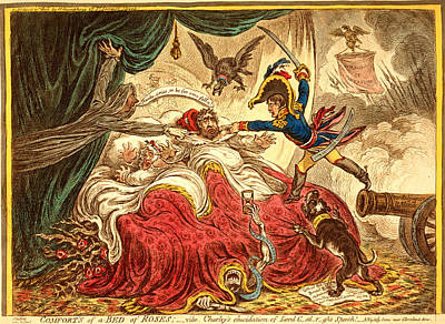 Comfort Of A Bed Of Roses, Gillray, James, 1756-1815 Art Print by Litz Collection