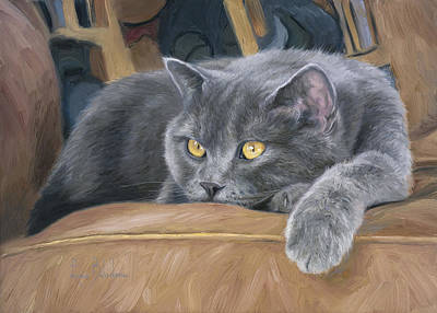 With Blue Painting - Comfortable by Lucie Bilodeau