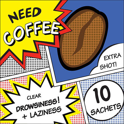 Dot Art Wall Art - Digital Art - Comic Stripes Of Coffee Drink by Neens