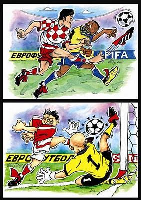 Goalkeeper Drawing - Comics About Eurofootball. Third Page. by Vitaliy Shcherbak