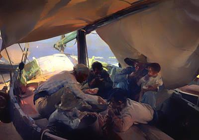 Meal Painting - Comida En La Barca by Mountain Dreams