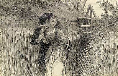 Kisses Drawing - Comin Through The Rye by William Bell Scott