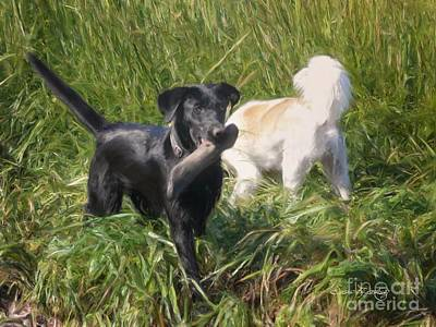 Black Lab Digital Art - Coming And Going by Susan  Lipschutz