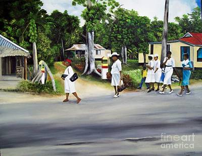 Religous Art Painting - Coming Home From Service by Kenneth Harris