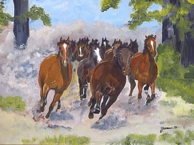 Arabian Horse Painting - Coming Home by Janina  Suuronen