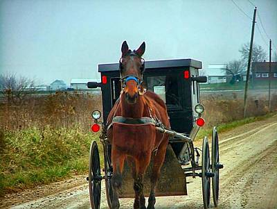 Amish Community Photograph - Coming My Way by Julie Dant