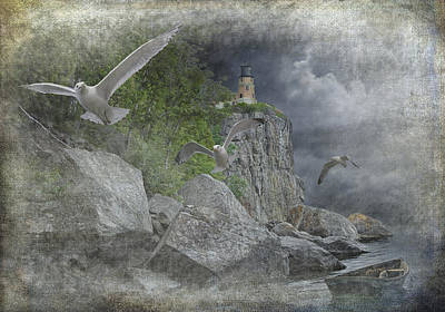 Photograph - Coming Storm With Gulls At Split Rock Lighthouse by Randall Nyhof