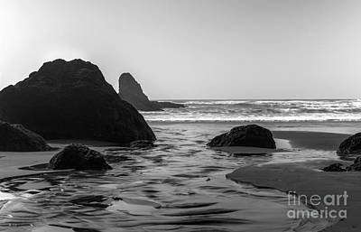Coming Together Ecola State Park B And W Art Print by Michael DeMello